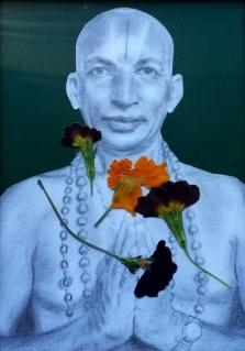 Tirumalai Krishnamacharya (November 18, 1888 – February 28, 1989), pencil, dried flowers on paper,artwork by Adisa