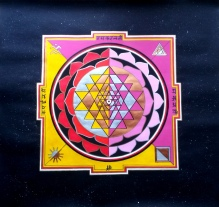 Sri Yantra, artwork by Domagoj and Adisa (70x70cm, pencil, acrylic and oil marker)