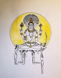 Patanjali with his four students according to T. Krishnamacharya, black and gold marker and turmeric on paper, artwork by Adisa
