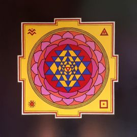 Sri Yantra, artwork by Domagoj (70x70cm, pencil, acrylic and oil marker)