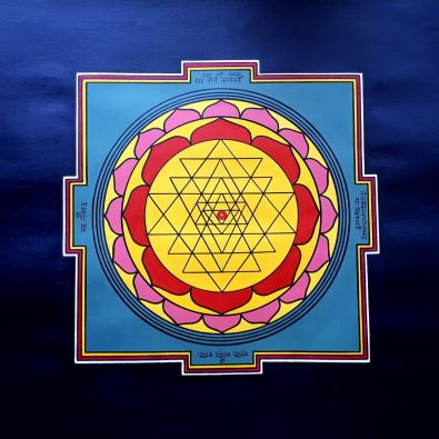 Sri Yantra, artwork by Domagoj (70x70cm, pencil, acrylic and oil marker)