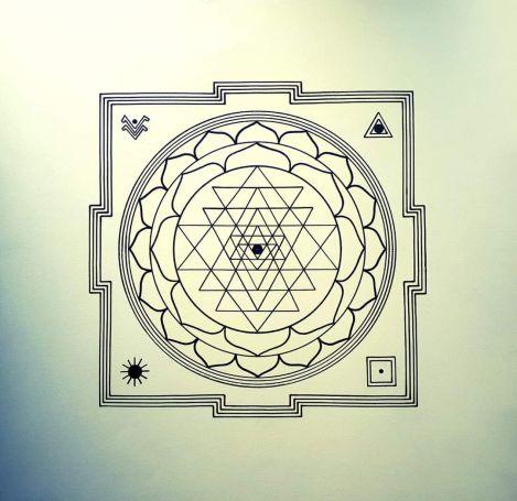 Sri Yantra, artwork by Domagoj (70x70cm, pencil and oil marker)