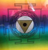 Yoni Yantra, artwork by Domagoj (pencil, and oil marker on coloured paper)