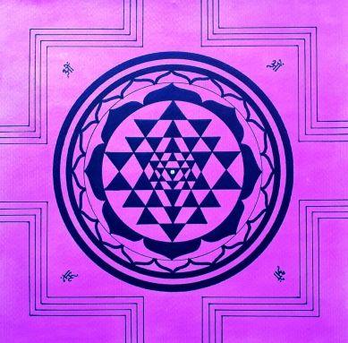 Sri Yantra, artwork by Domagoj (40x30cm, pencil, colour ink and black marker)