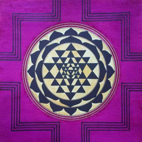 Sri Yantra, artwork by Domagoj (40x30cm, pencil, colour ink, curcuma and black marker)